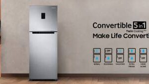 Samsung 394 L Frost Free Double Door 3 Star (2019) Refrigerator  (Refined Inox, RT39M5538S9/TL)