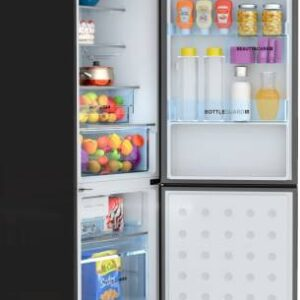 Haier 320 L Frost Free Double Door 2 Star (2020) Refrigerator  (Black Glass, HRB-3404PBG-E)