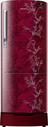 Samsung 230 L Direct Cool Single Door 3 Star (2020) Refrigerator with Base Drawer  (Mystic Overlay Red, RR24T285Y6R/NL)