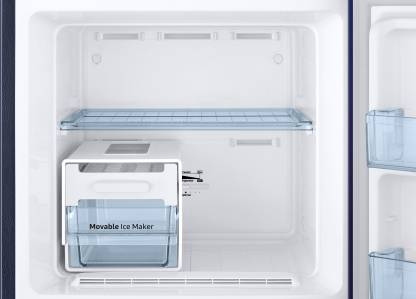 Samsung 253 L Frost Free Double Door 2 Star (2020) Refrigerator with Base Drawer  (Paradise Blue, RT28T31429U/HL)