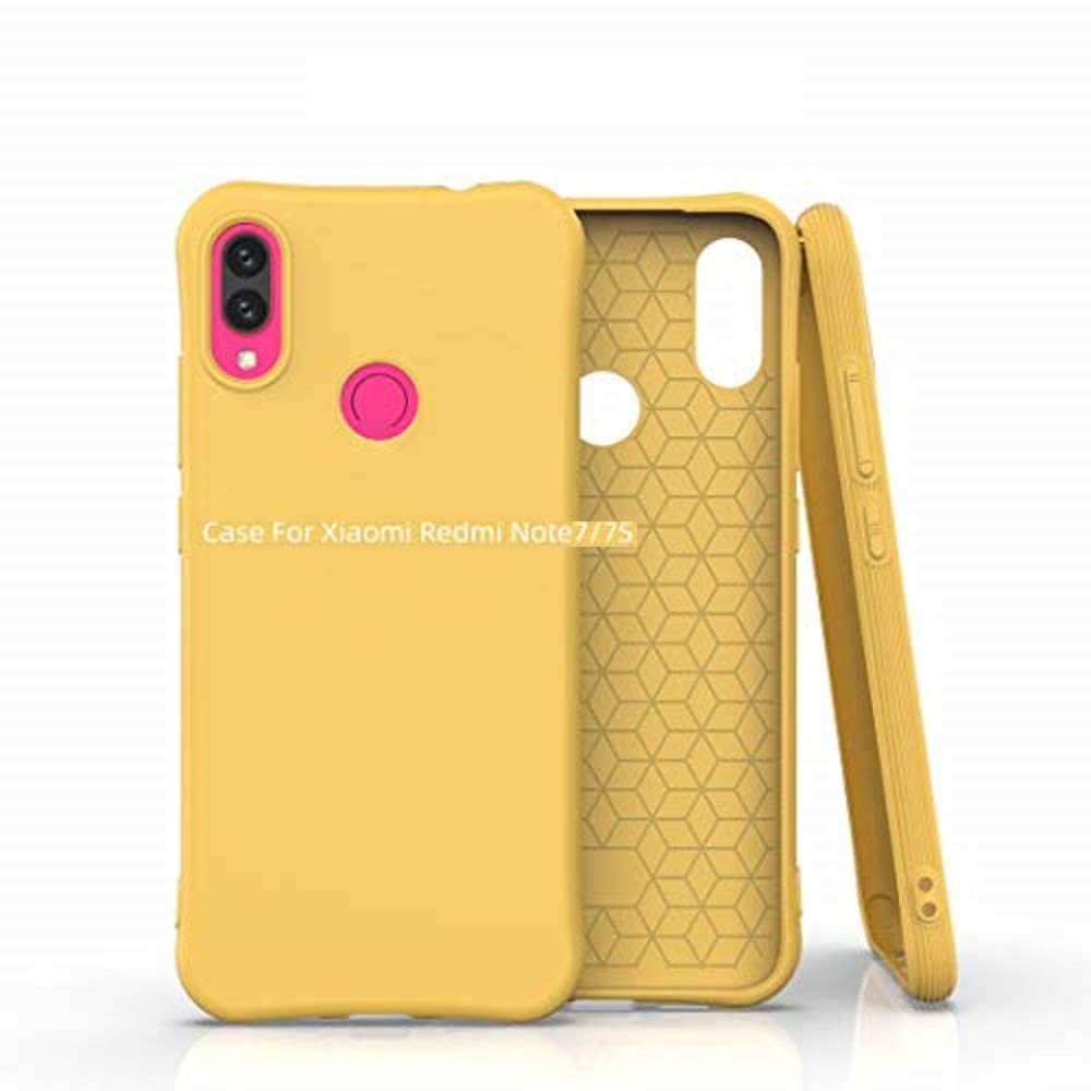 Cellshell Soft Silicone Matte Pudding Shockproof TPU Jelly Case for Redmi Note 7 & Note 7s & Note 7 Pro - Matte Yellow