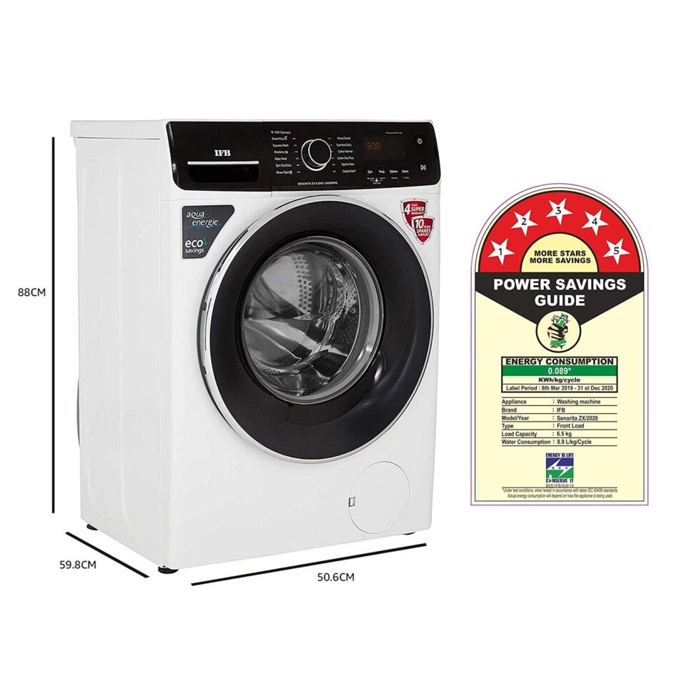 IFB 6.5 Kg 5 Star Wi-Fi Alexa Enabled Fully-Automatic Front Loading Washing Machine (SENORITA ZX, White, In Built heater)