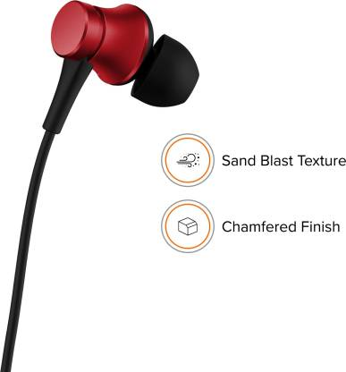Mi Basic Wired Headset with Mic  (Red, In the Ear)