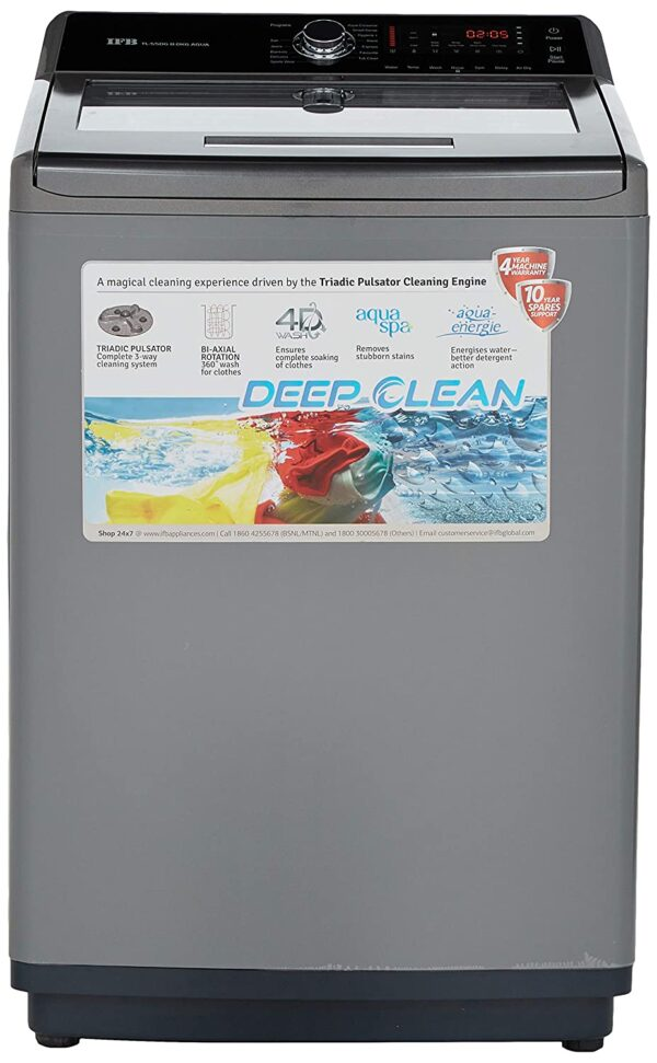 IFB 8 Kg Fully-automatic Top-loading Washing Machine (TL-SDG, Sparkling Silver, Aqua Energie water softener)