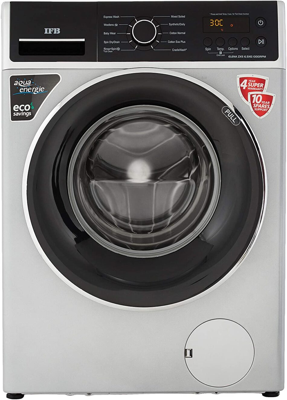 IFB 6.5 Kg 5 Star Fully-Automatic Front Loading Washing Machine (ELENA ZXS, Silver, Inbuilt Heater)