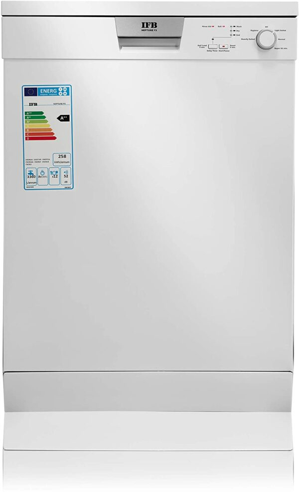 IFB Neptune FX Fully Electronic Dishwasher (12 Place Settings, White, Tough stain removal, Hygiene quick wash, Super Energy Efficiency with Adjustable Upper Basket)