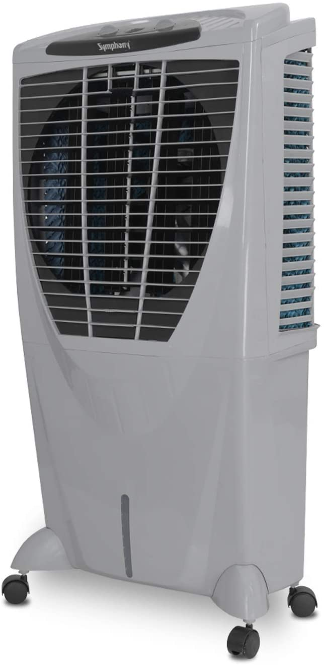 Symphony Winter 80 XL + Powerful Desert Air Cooler 80-litres with +Air Fan, 4-Side Cooling Pads, Multistage Air Purification, Whisper-Quiet Performance & Low Power Consumption (Grey)