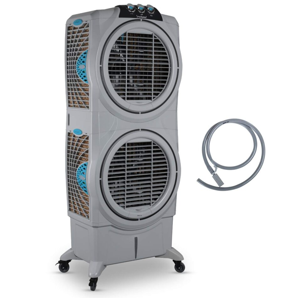 Symphony Sumo 75 XL DD Powerful Double Decker, Desert Air Cooler 75-litres with Double +Air Fan, Easy-Fill, 3-Side Honeycomb Pads, i-Pure Console & Low Power Consumption (Grey)