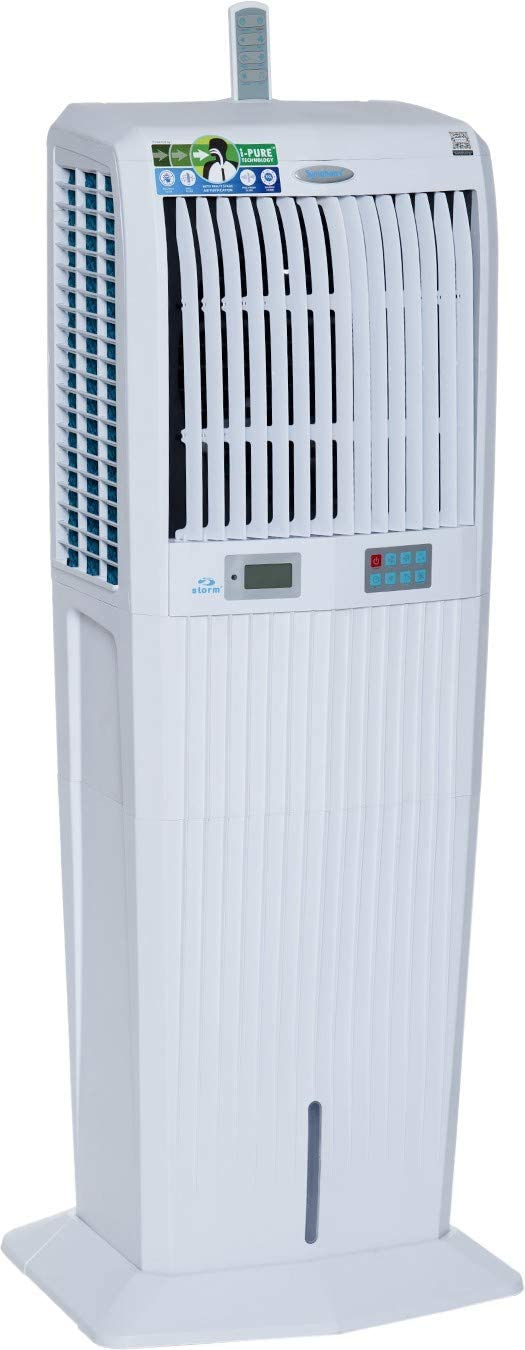 Symphony Storm 100i Desert Tower Air Cooler 100-litres with Remote, LCD Control Panel, 3-Side Honeycomb Pads, Multistage Air Purification & Low Power Consumption (White)