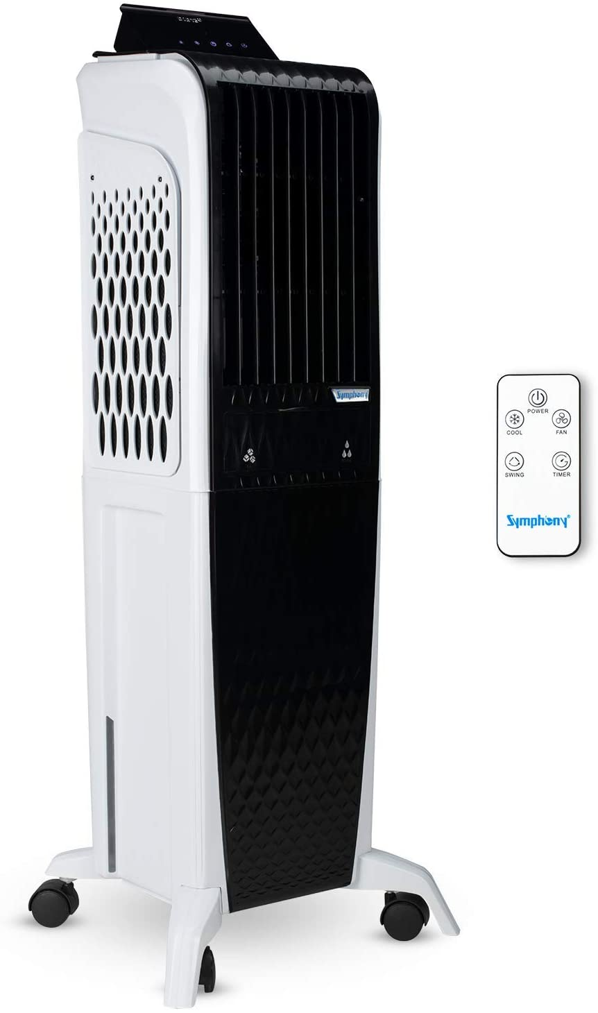 Symphony Diet 3D 40i Tower Air Cooler 40-litres with Magnetic Remote, 3-Side Cooling Pads, Pop-up Touchscreen, Multistage Air Purification & Low Power Consumption (Black & White)