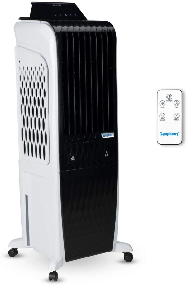 Symphony Diet 3D - 30i Personal Tower Air Cooler 30-litres with Magnetic Remote, 3-Side Cooling Pads, Pop-up Touchscreen, Multistage Air Purification & Low Power Consumption (Black & White)
