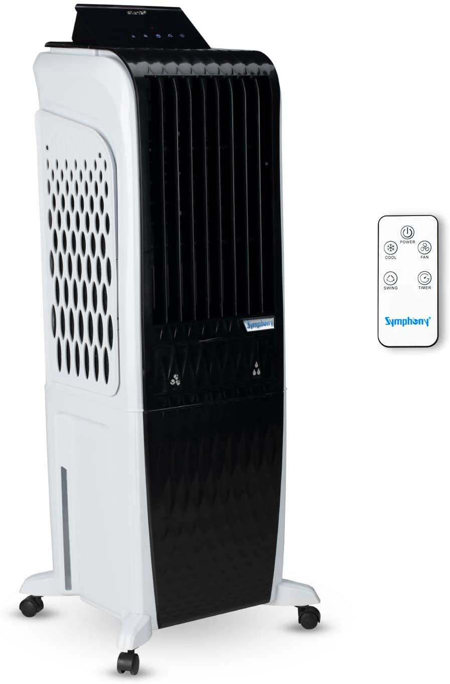 Symphony Diet 3D – 30i Personal Tower Air Cooler 30-litres with Magnetic Remote, 3-Side Cooling Pads, Pop-up Touchscreen, Multistage Air Purification & Low Power Consumption (Black & White)