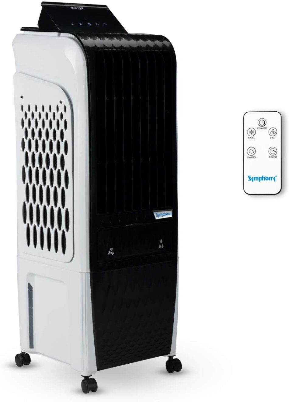 Symphony Diet 3D 20i Personal Tower Air Cooler 20-litres, with Magnetic Remote, 3-Side Cooling Pads, Pop-up Touchscreen, Multistage Air Purification, & Low Power Consumption (Black & White)