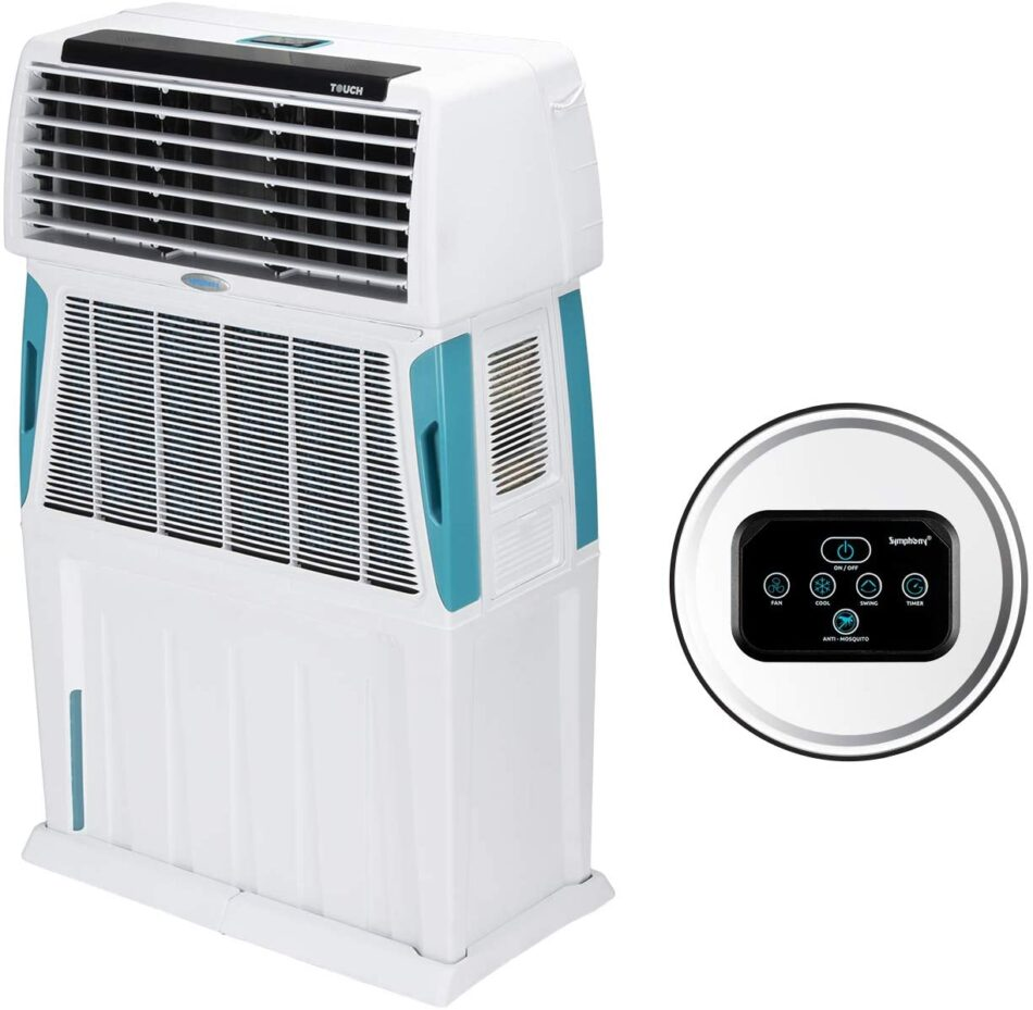 Symphony Touch 110 Air Cooler – 110-litres, White