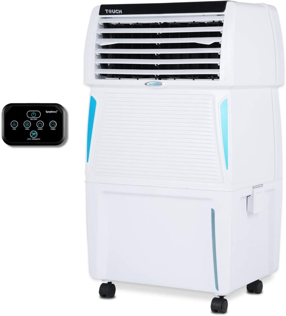 Symphony Touch 35 Personal Air Cooler 35-litres with Remote, Digital Touchscreen, Voice Assist, Honeycomb Pads, Multistage Air Purification, Mosquito Repellent & Removable Tank(White)
